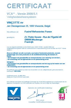 VCA** Version 2008/5.1 Certificate