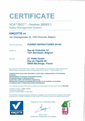 VCA** Version 2008/5.1 Certificate